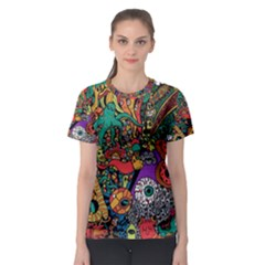 Monsters Colorful Doodle Women s Sport Mesh Tee