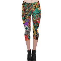 Monsters Colorful Doodle Capri Leggings