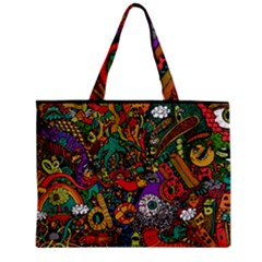 Monsters Colorful Doodle Zipper Mini Tote Bag
