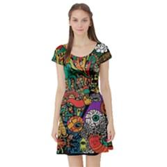 Monsters Colorful Doodle Short Sleeve Skater Dress