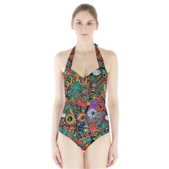 Monsters Colorful Doodle Halter Swimsuit