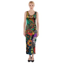 Monsters Colorful Doodle Fitted Maxi Dress
