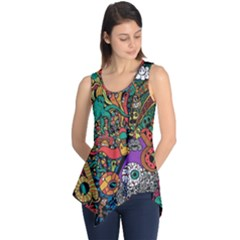 Monsters Colorful Doodle Sleeveless Tunic