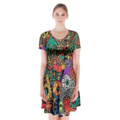 Monsters Colorful Doodle Short Sleeve V-neck Flare Dress