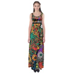 Monsters Colorful Doodle Empire Waist Maxi Dress