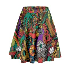 Monsters Colorful Doodle High Waist Skirt
