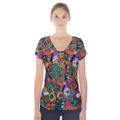Monsters Colorful Doodle Short Sleeve Front Detail Top