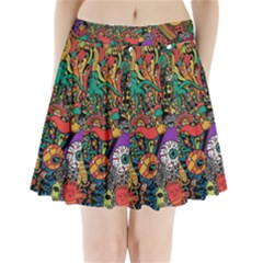 Monsters Colorful Doodle Pleated Mini Skirt