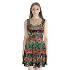 Monsters Colorful Doodle Split Back Mini Dress