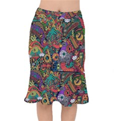 Monsters Colorful Doodle Mermaid Skirt