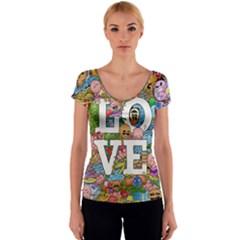 Doodle Art Love Doodles Women s V-Neck Cap Sleeve Top