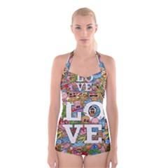 Doodle Art Love Doodles Boyleg Halter Swimsuit