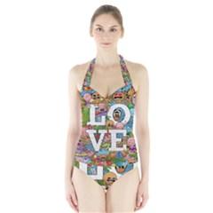 Doodle Art Love Doodles Halter Swimsuit