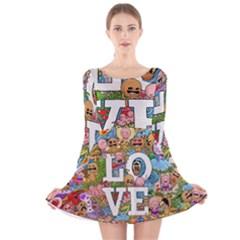 Doodle Art Love Doodles Long Sleeve Velvet Skater Dress