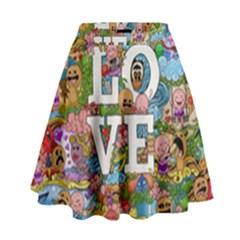 Doodle Art Love Doodles High Waist Skirt