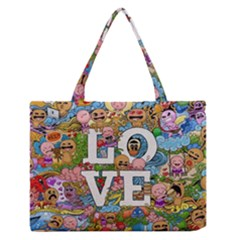 Doodle Art Love Doodles Medium Zipper Tote Bag