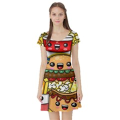 Cute Food Wallpaper Picture Short Sleeve Skater Dress
