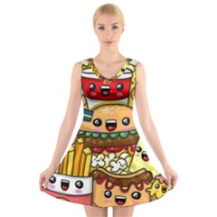 Cute Food Wallpaper Picture V Neck Sleeveless Skater Dress