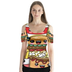 Cute Food Wallpaper Picture Butterfly Sleeve Cutout Tee