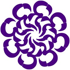 Hindu Om Symbol (Purple) Hook Handle Umbrellas (Medium)
