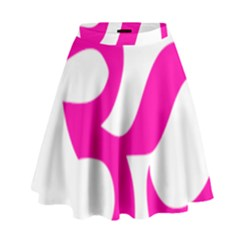 Hindu Om Symbol (Pink) High Waist Skirt