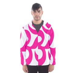 Hindu Om Symbol (Deep Pink) Hooded Wind Breaker (Men)