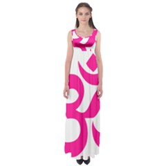 Hindu Om Symbol (Deep Pink) Empire Waist Maxi Dress