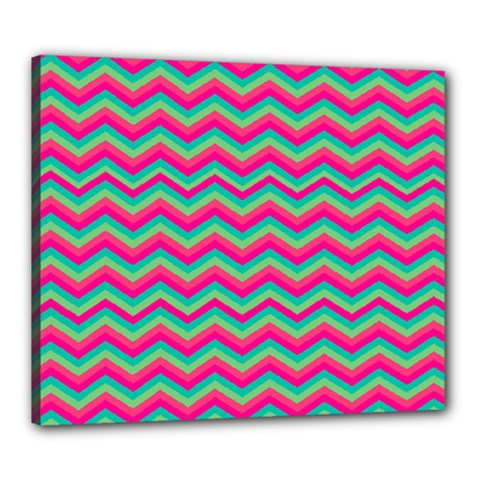 Retro Pattern Zig Zag Canvas 24  x 20