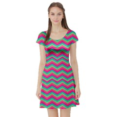 Retro Pattern Zig Zag Short Sleeve Skater Dress