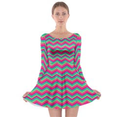 Retro Pattern Zig Zag Long Sleeve Skater Dress