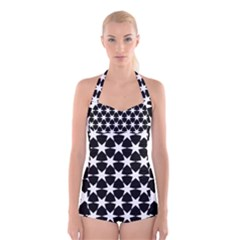 Star Egypt Pattern Boyleg Halter Swimsuit