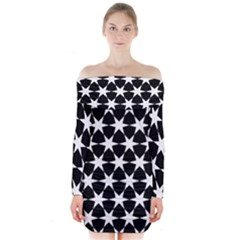 Star Egypt Pattern Long Sleeve Off Shoulder Dress