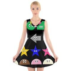 Cute Symbol V Neck Sleeveless Skater Dress