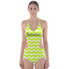 Chevron Background Patterns Cut Out One Piece Swimsuit