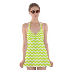 Chevron Background Patterns Halter Swimsuit Dress