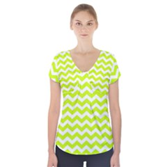 Chevron Background Patterns Short Sleeve Front Detail Top