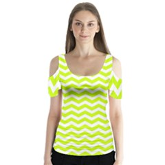 Chevron Background Patterns Butterfly Sleeve Cutout Tee