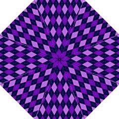 Static Argyle Pattern Blue Purple Folding Umbrellas
