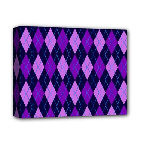 Static Argyle Pattern Blue Purple Deluxe Canvas 14  x 11