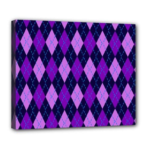Static Argyle Pattern Blue Purple Deluxe Canvas 24  X 20