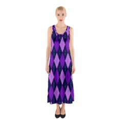 Static Argyle Pattern Blue Purple Sleeveless Maxi Dress
