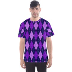 Static Argyle Pattern Blue Purple Men s Sport Mesh Tee