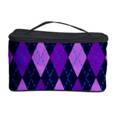 Static Argyle Pattern Blue Purple Cosmetic Storage Case