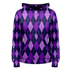 Static Argyle Pattern Blue Purple Women s Pullover Hoodie