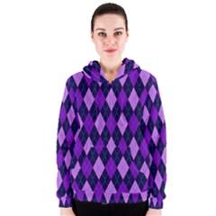 Static Argyle Pattern Blue Purple Women s Zipper Hoodie