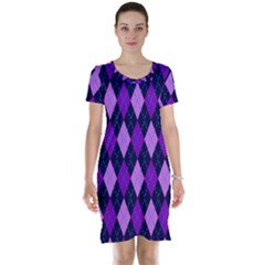 Static Argyle Pattern Blue Purple Short Sleeve Nightdress