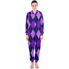 Static Argyle Pattern Blue Purple Hooded Jumpsuit (ladies)