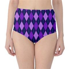 Static Argyle Pattern Blue Purple High Waist Bikini Bottoms