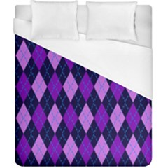 Static Argyle Pattern Blue Purple Duvet Cover (california King Size)