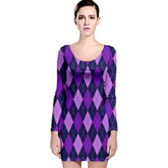 Static Argyle Pattern Blue Purple Long Sleeve Velvet Bodycon Dress